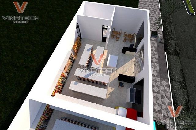 thiết kế siêu thị mini 100m2 trên nền 3D