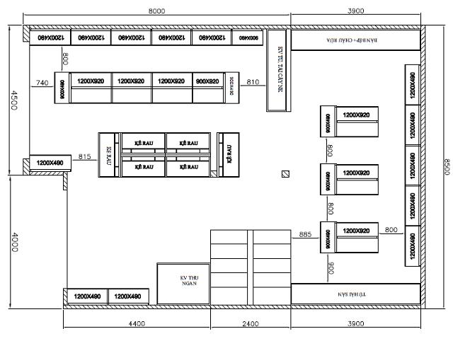 bản vẽ thiết kế cửa hàng tạp hóa