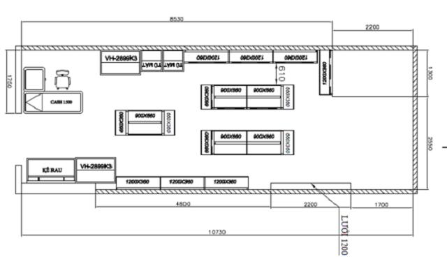 mẫu thiết kế cửa hàng tạp hóa 2D
