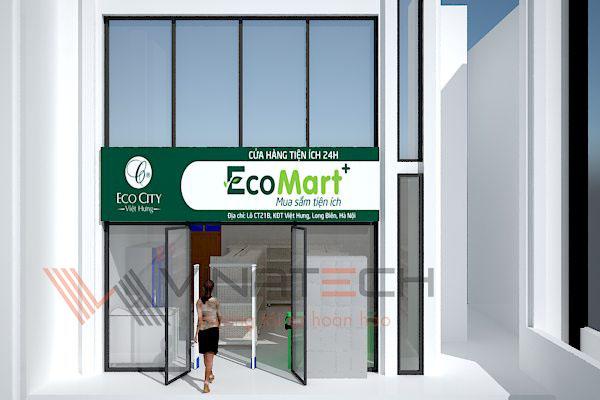 thiết kế 3d cửa hàng tiện ích 45m2