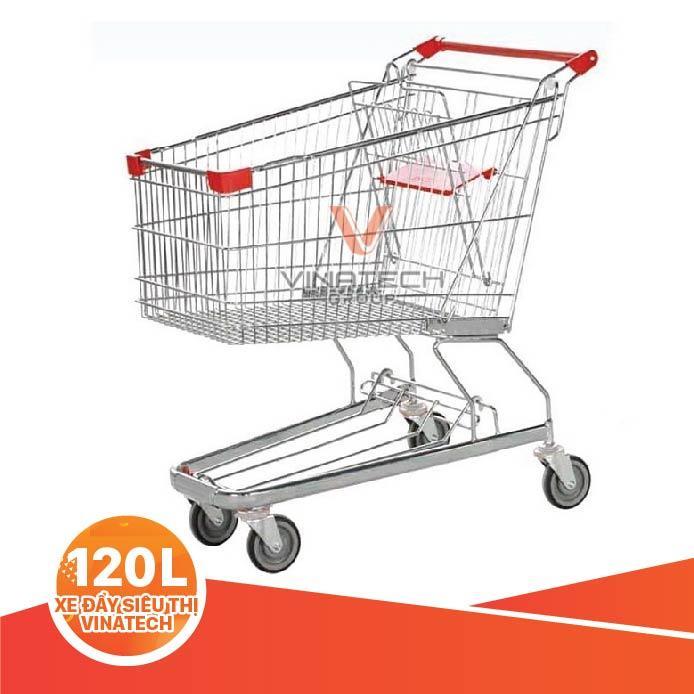 Xe đẩy siêu thị 120L từ Vinatech có chất liệu bền bỉ, chịu tải cao