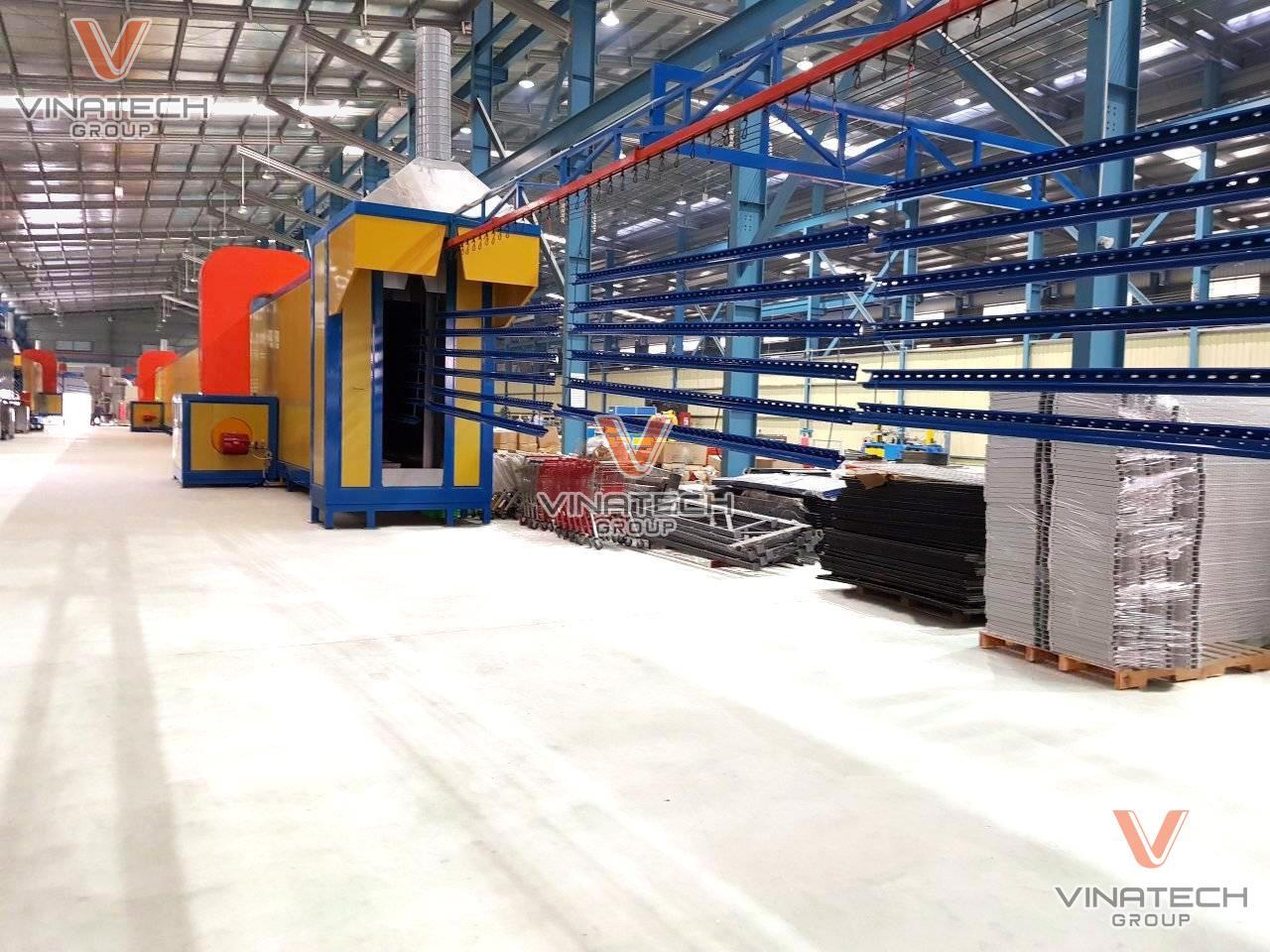 Hình ảnh thực tế xưởng sơn tĩnh điện của Vinatech tại Củ Chi, TPHCM