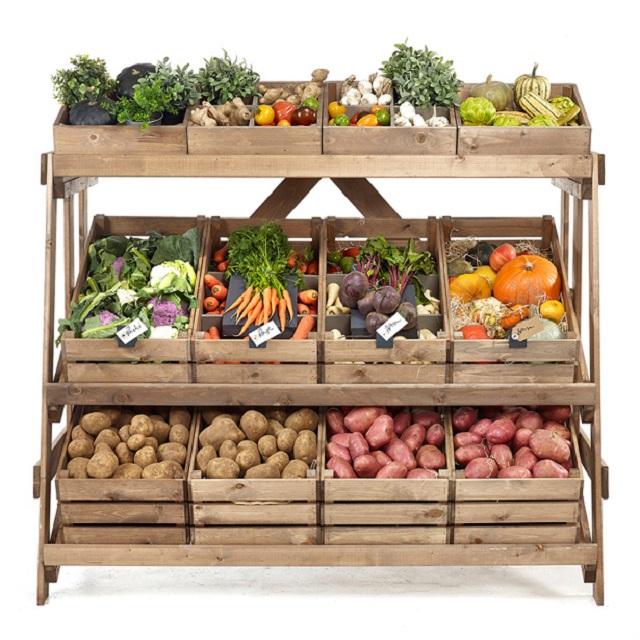 kệ gỗ trưng bày hoa quả