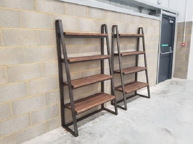 kệ sắt kết hợp gỗ