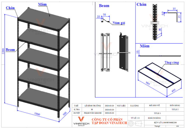 cấu tạo kệ sắt v lỗ 5 tầng