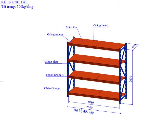cấu tạo Kệ trung tải D2000 x R600 x C 2000 mm